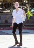 Amber Heard enjoys a horse riding session before heading to grocery shopping at Pavilions in Los Angeles