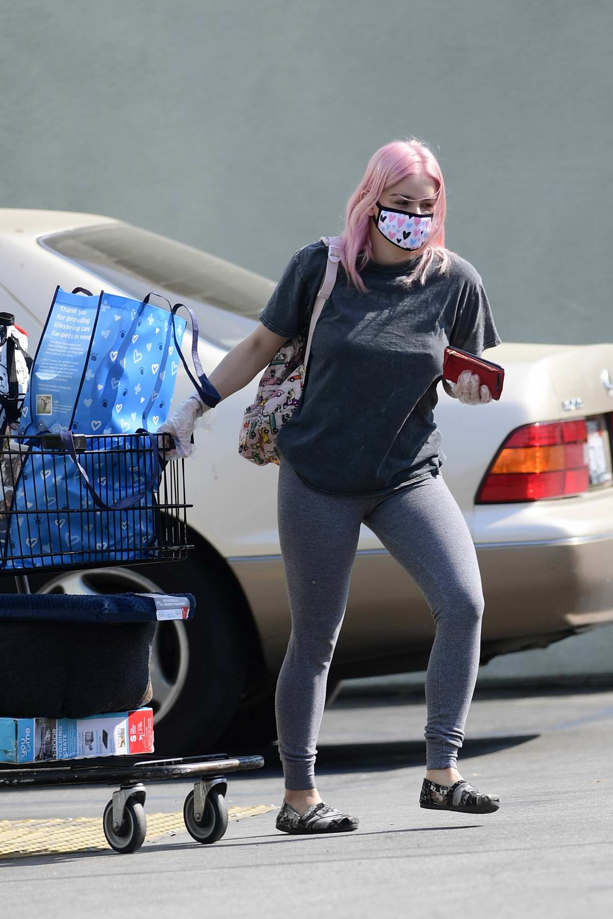 Ariel Winter sports grey tee and leggings as she stock up on dog food at Petco in Los Angeles