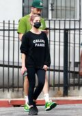 Ashley Benson sports black 'Celine' sweatshirt and leggings while making a coffee run with boyfriend G-Eazy in Los Angeles