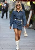 Ashley Roberts flaunts her legs in a denim minidress as she leaves the Global Studios in London, UK
