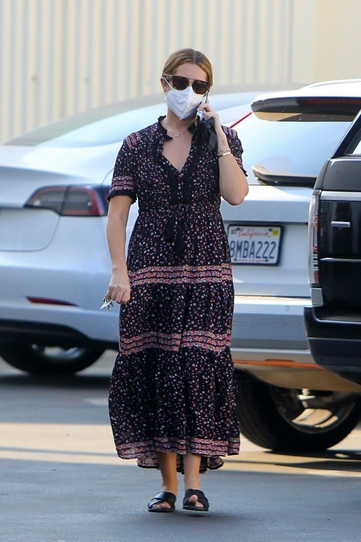 Ashley Tisdale seen wearing a maxi dress while arriving at a studio in Los Angeles