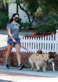 Aubrey Plaza goes casual in a tee and shorts while walking her dogs around the neighborhood in Los Feliz, California
