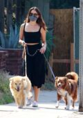 Aubrey Plaza looks great in all-black as steps out to walk her dog in Los Feliz, California