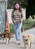 Aubrey Plaza takes her dogs out for a walk around her neighborhood in Los Feliz, California