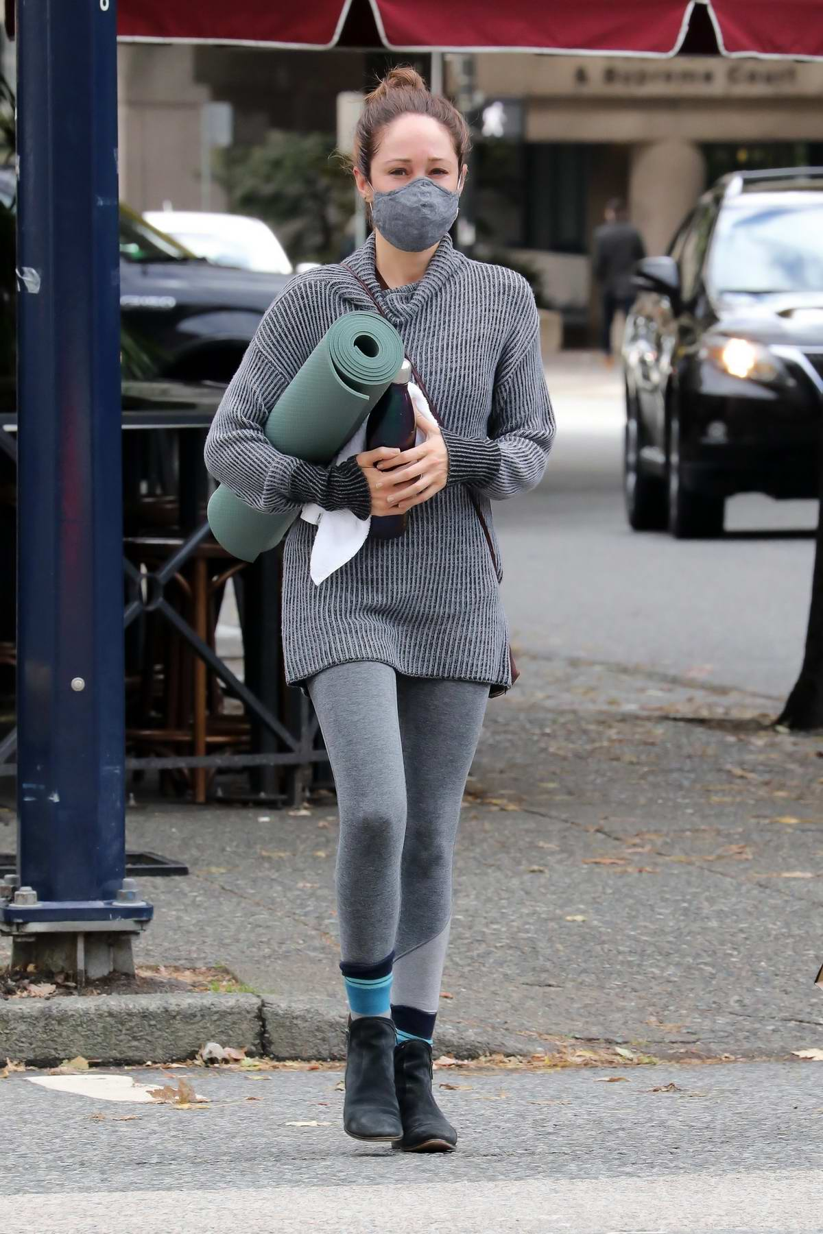 Autumn Reeser attends a yoga class on a day off filming a Hallmark Christmas movie in Vancouver, Canada