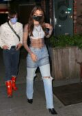 Bella Hadid shows off her new hairstyle while heading to her pre-birthday dinner party in Brooklyn, New York