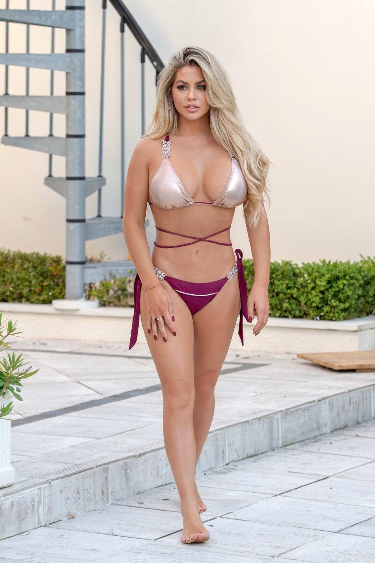 Bianca Gascoigne wears a gold and purple bikini out on her holidays in Madeira, Portugal