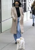 Camila Mendes wears an animal print mask as she take her dog for a walk in Vancouver, Canada