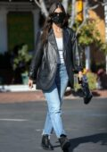 Camila Morrone rocks a black leather jacket for lunch with her mother at Mauro's Cafe in West Hollywood, California
