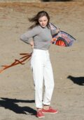 Chloe Grace Moretz seen while filming kite flying scene on the beach for 'Mother/Android' in Boston, Massachusetts
