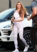 Chrishell Stause looks great in tie-dye leggings as she arrives at the DWTS studio in Los Angeles