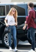 Chrishell Stause sports a cropped tee and skinny jeans as she as she heads at the DWTS studio in Los Angeles