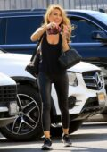 Chrishell Stause sports black leggings and tank top as she heads into the DWTS studio in Los Angeles