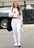 Chrishell Stause sports white leggings with matching top while attending her dance practice at DWTS studio in Los Angeles