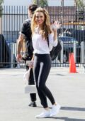 Chrishell Stause spotted in a white top and black leggings as she leaves the DWTS studio in Los Angeles