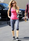 Chrishell Stause wears a hot pink tank top as she arrives at the DWTS studio in Los Angeles