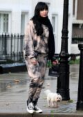 Daisy Lowe seen wearing tie-dye sweats while out for a stroll in Primrose Hill, London, UK