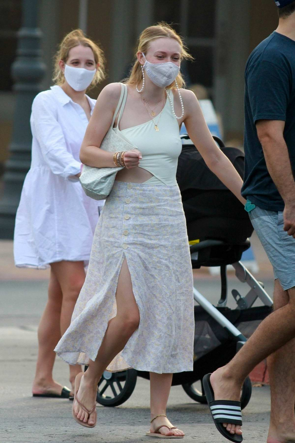 Dakota Fanning goes out for ice cream with friends in Malibu, California