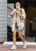 Dakota Fanning wears double masks while leaving a nail salon in Studio City, California