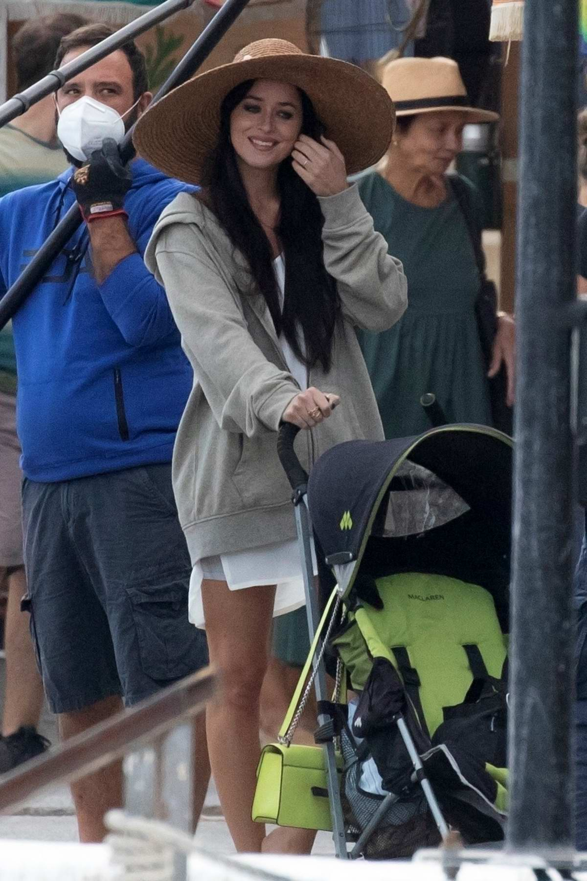 Dakota Johnson spotted filming on the sets of 'The Lost Daughter' in Spetses Island, Greece