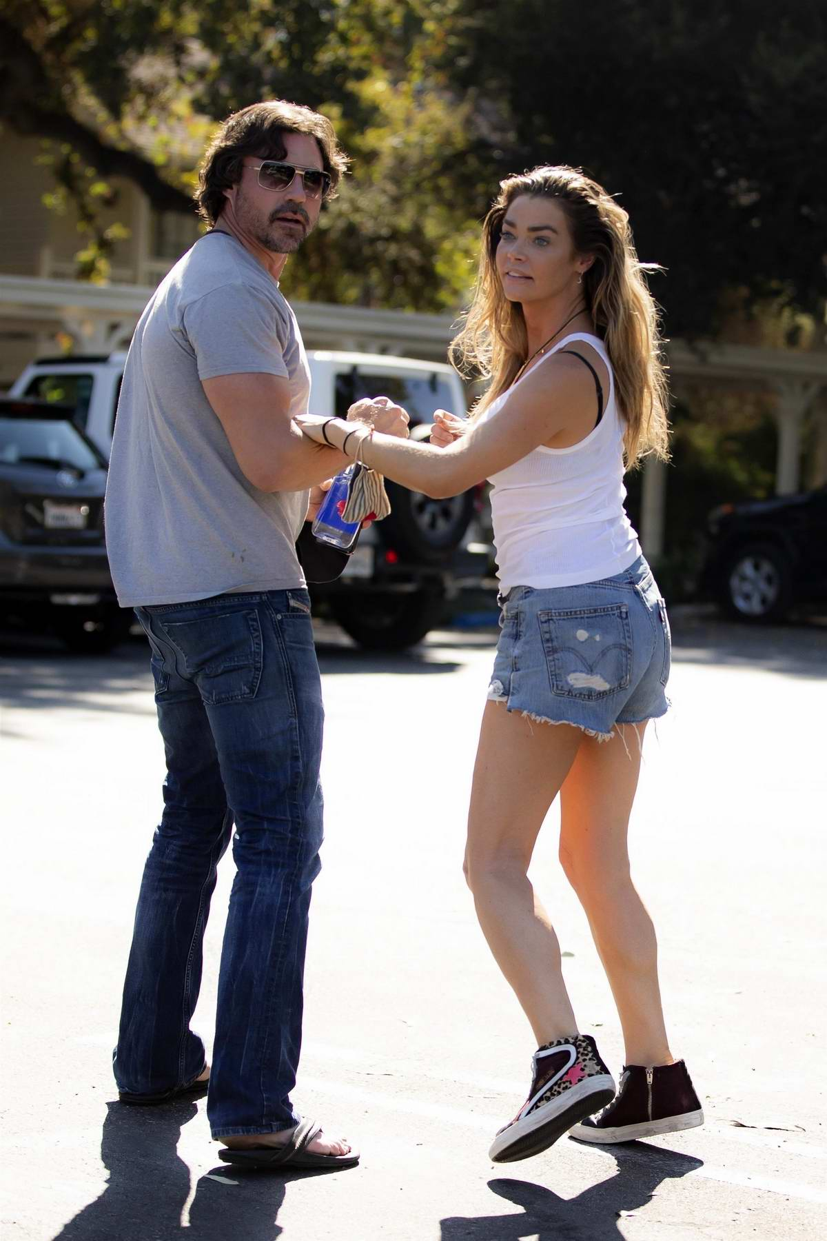 Denise Richards steps out for a lunch date with husband Aaron Phypers in Calabasas, California