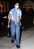 Dua Lipa looks trendy as she arrives at Gigi Hadid's apartment in New York City