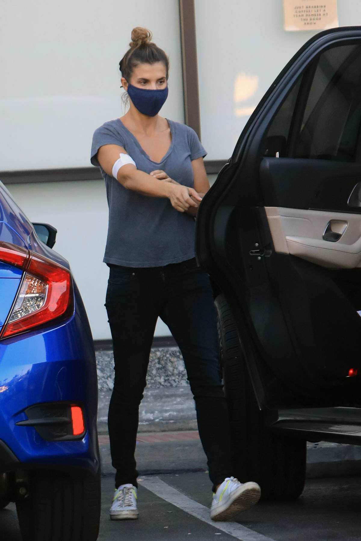 Elisabetta Canalis spotted with a bandage on her arm while out grocery shopping in West Hollywood, California