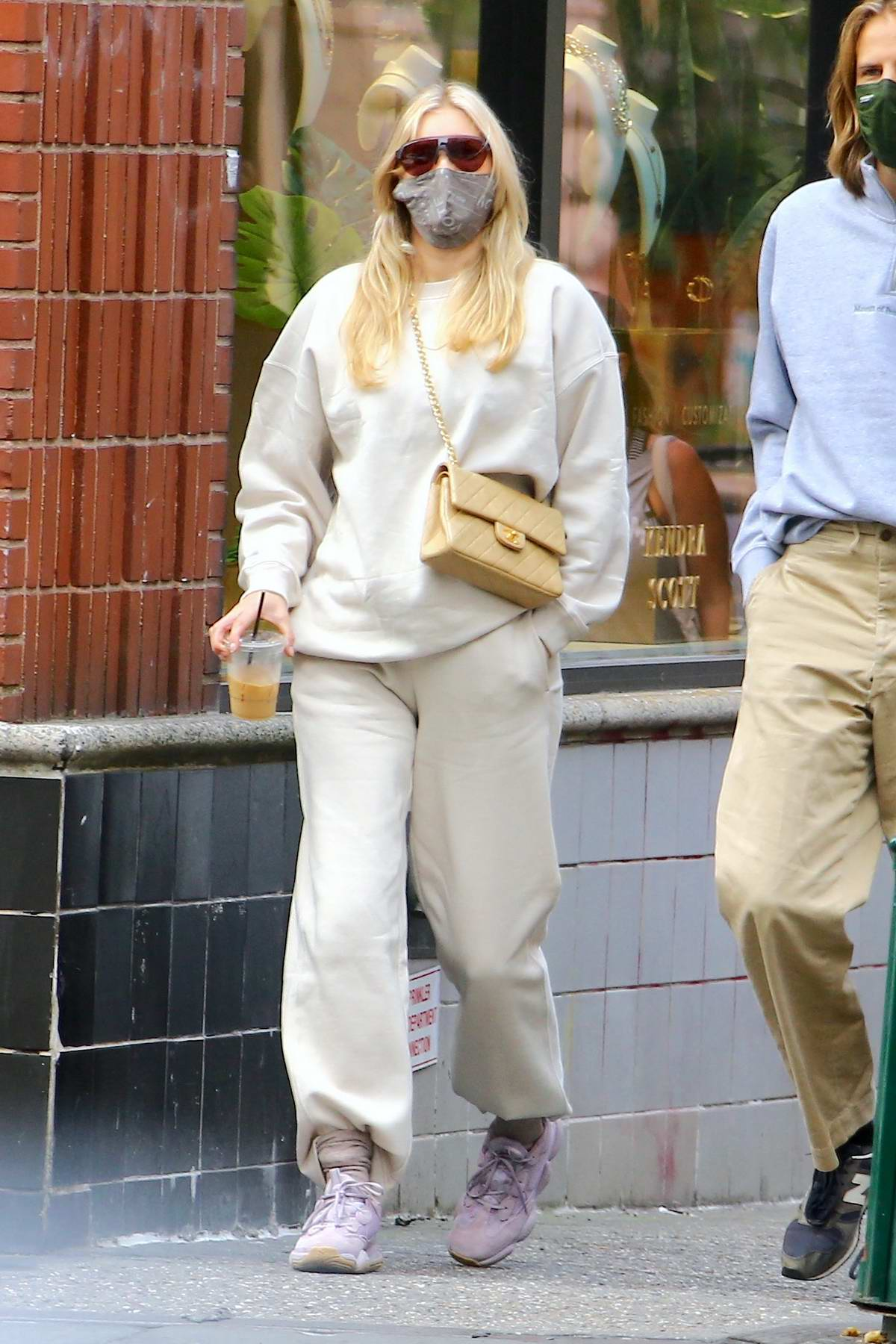 Elsa Hosk keeps it casual yet stylish while out for coffee with Tom Daly in SoHo, New York City