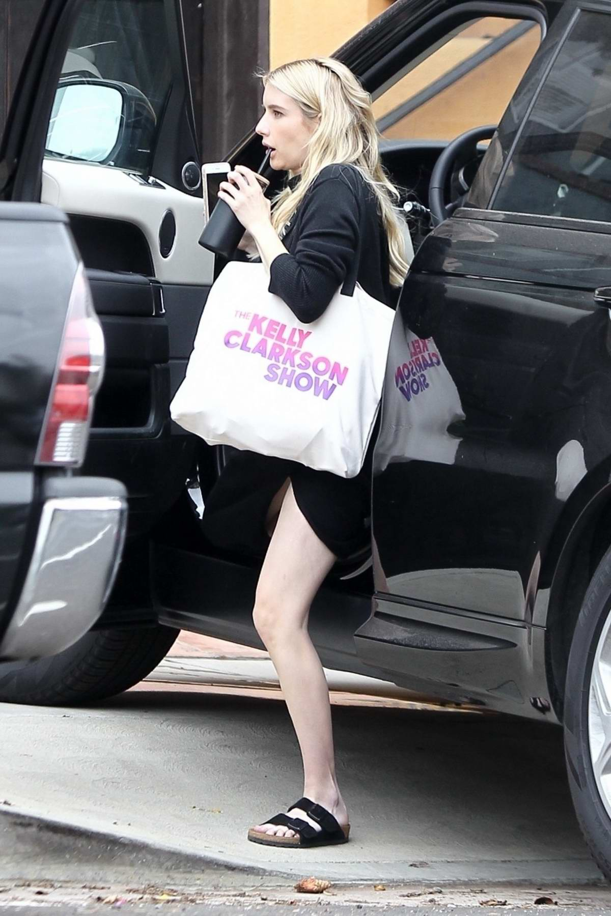 Emma Roberts spotted in all-black as she arrives back home in Los Angeles