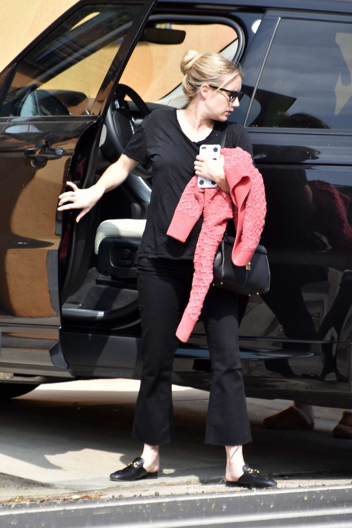 Emma Roberts Spotted In All Black As She Returns To Her Home With A Friend After