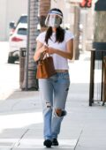 Emmy Rossum wears a face mask and face shield as she heads to a doctor's appointment in Beverly Hills, California