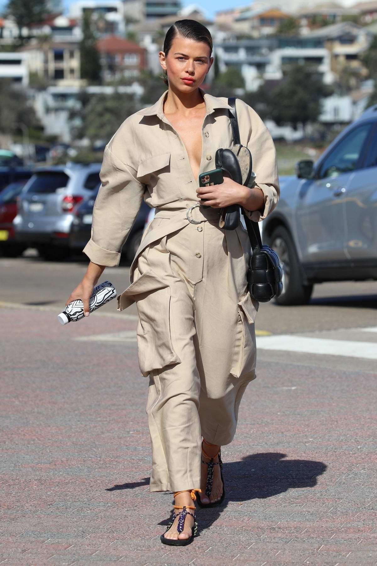 Georgia Fowler looks chic in a beige jumpsuit while out in Bondi, Australia