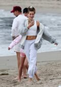 Hailey Bieber and Justin Bieber enjoy a beach day with their pastor in Santa Barbara, California