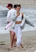 Hailey Bieber and Justin Bieber enjoy a beach day with their pastor in Santa Barbara, California