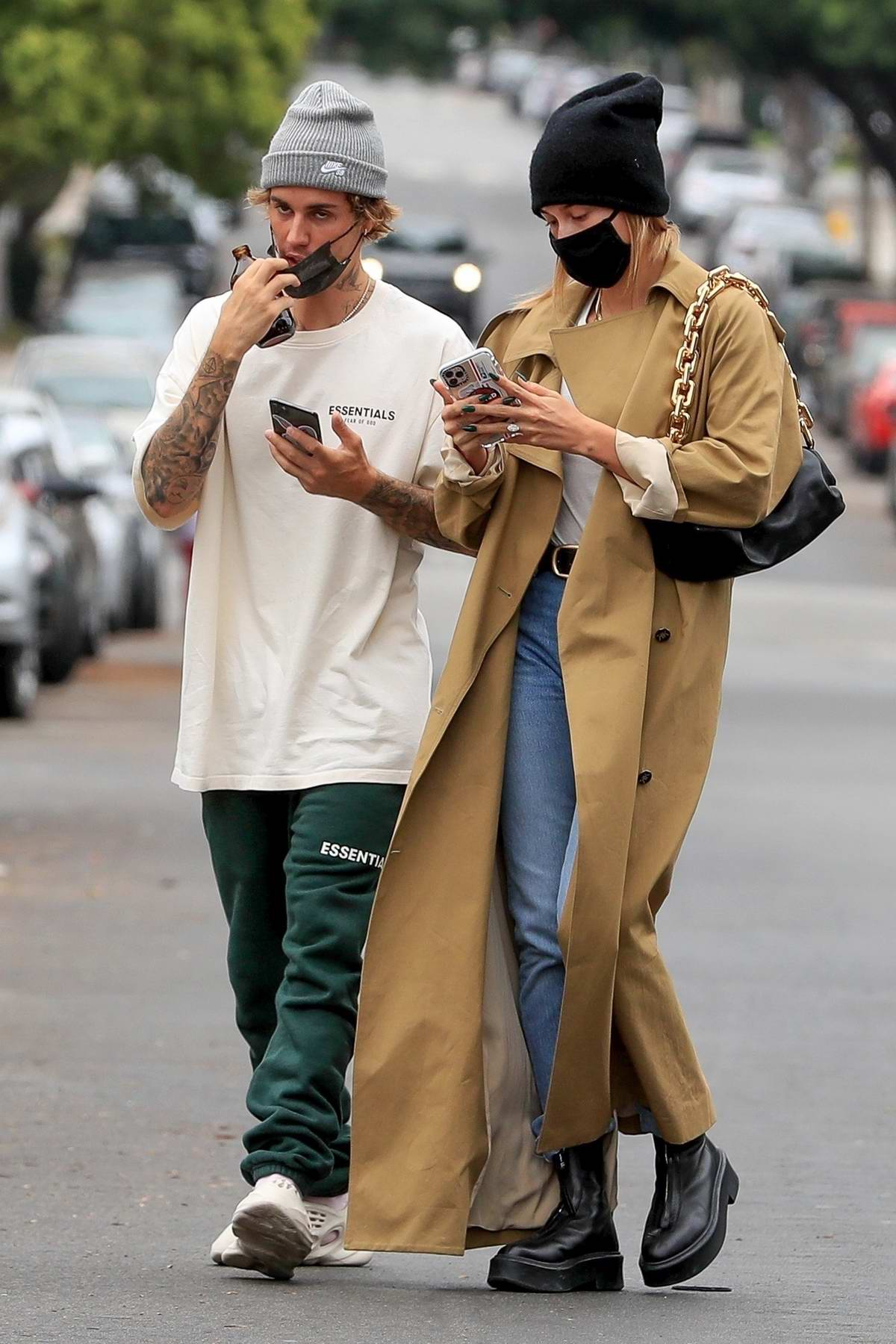 Hailey Bieber and Justin Bieber step out for grocery shopping at Erewhon Market in Brentwood, California