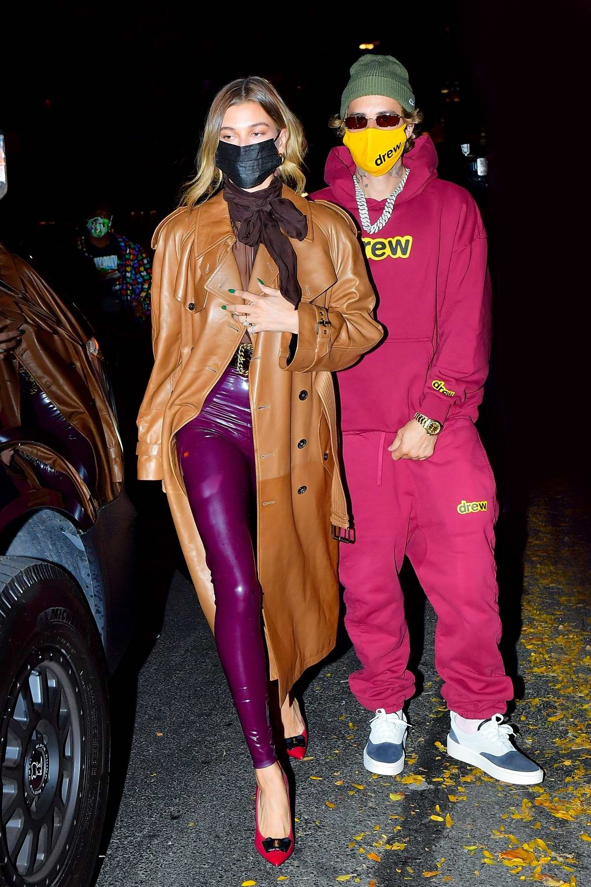 Hailey Bieber and Justin Bieber step out in colorful outfits for dinner in New York City