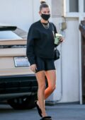 Hailey Bieber picks up a healthy drink before heading for a dermatologist appointment in Beverly Hills, California