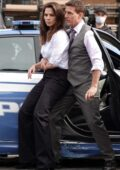 Hayley Atwell and Tom Cruise seen filming a gritty shoot-out scene for 'Mission Impossible 7' in Rome, Italy