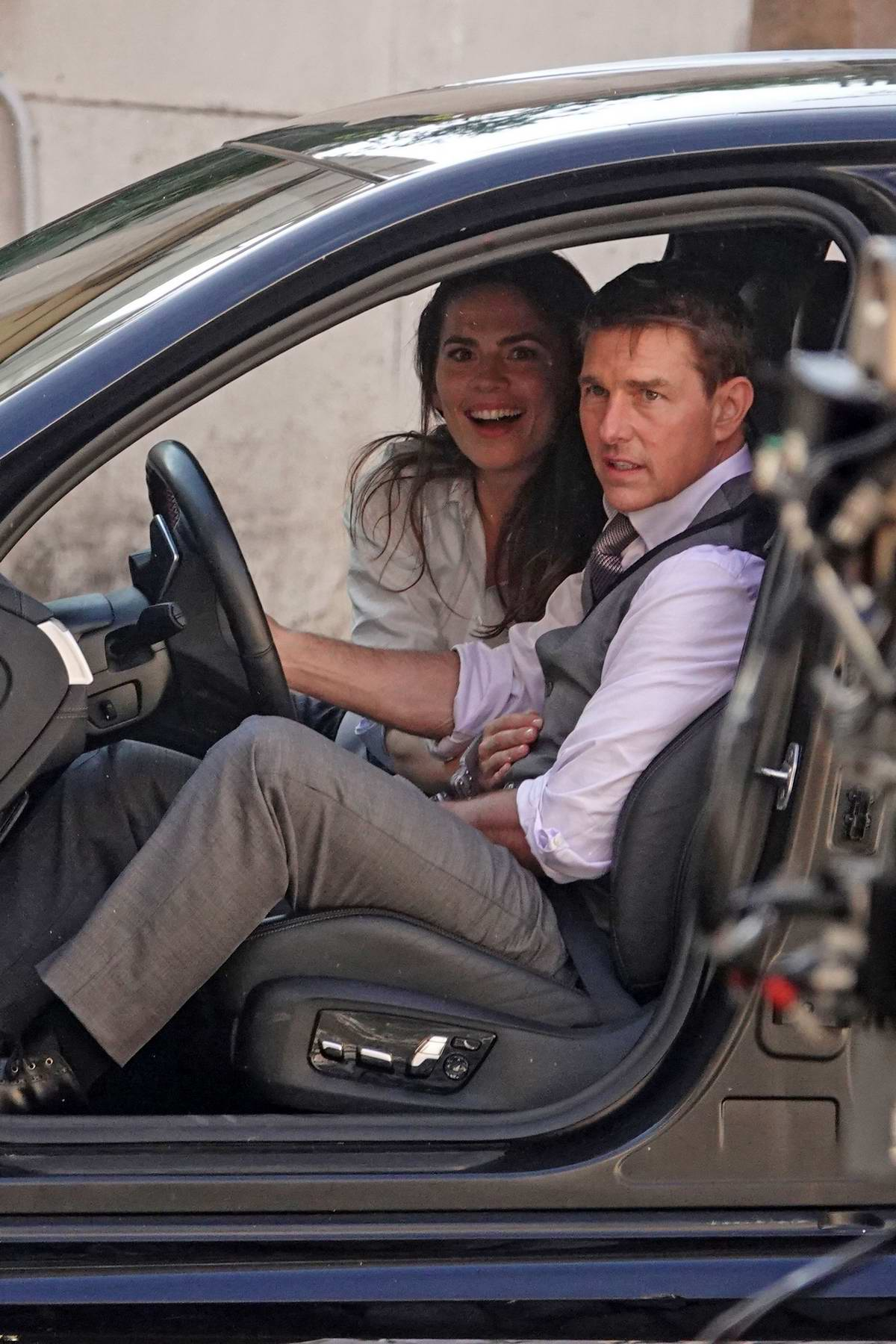 Hayley Atwell and Tom Cruise spotted filming a high-octane car scene for 'Mission Impossible 7' in Rome, Italy