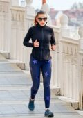 Hayley Atwell stays fit with a run as she takes a break from filming 'Mission Impossible 7' in Venice, Italy