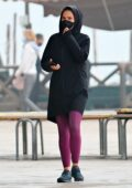 Hayley Atwell takes a break from filming 'Mission Impossible' as she goes out for a run in Venice, Italy