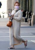 Hilary Duff seen wearing a knitted sweater dress while out in New York City
