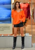 Irina Shayk flaunts her stunning legs in black leather shorts while visiting Falconeri for her IG live in SoHo, New York City