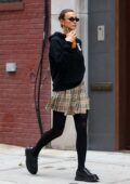Irina Shayk looks stylish in a Burberry outfit during a juice run in New York City