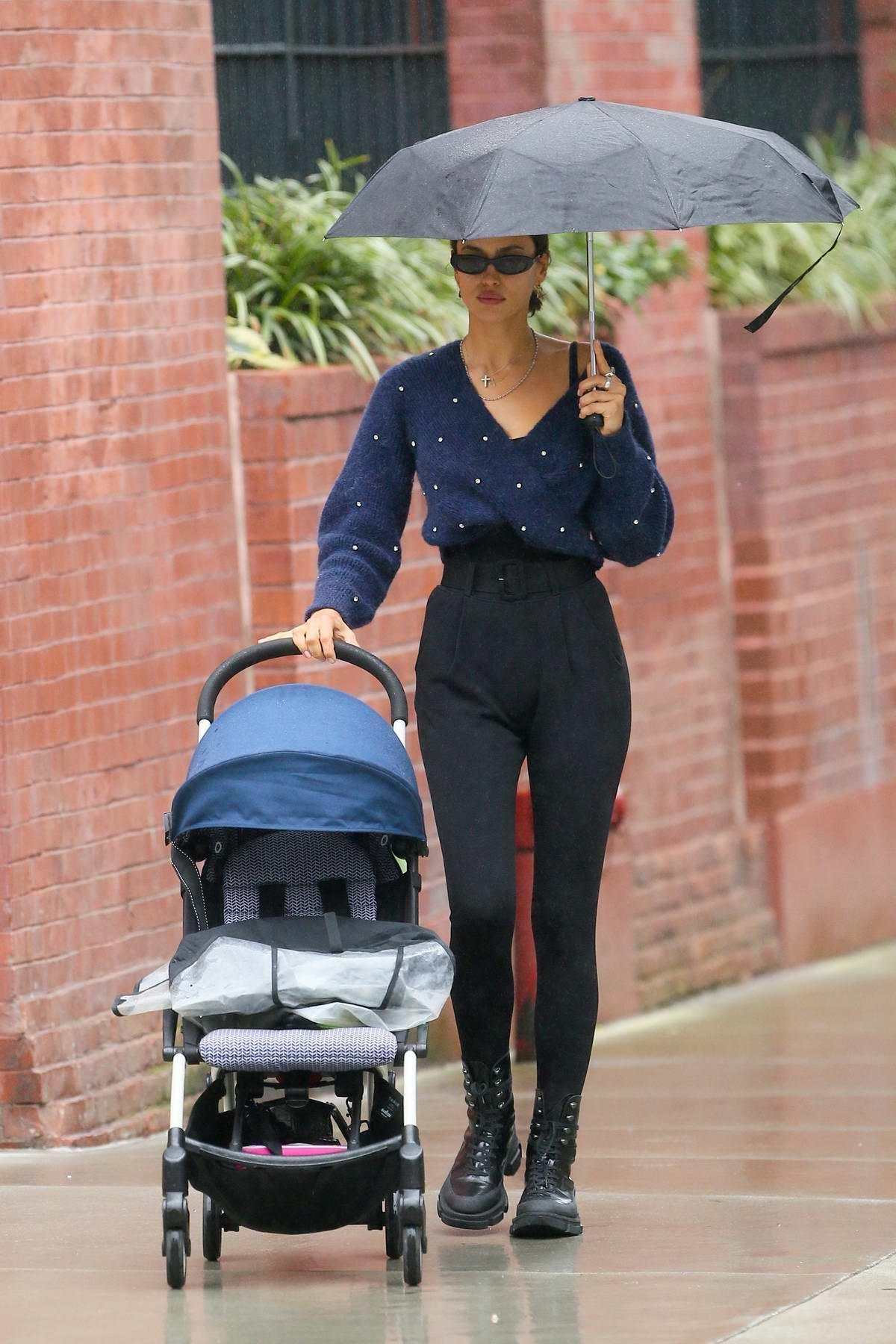 Irina Shayk seen picking her daughter up from school before enjoying a stroll in New York City