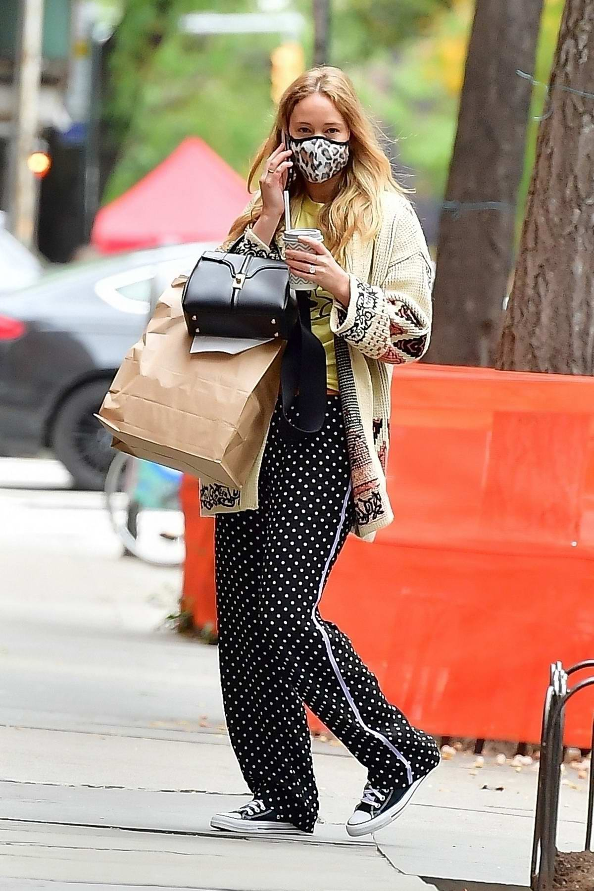 Jennifer Lawrence steps out displaying her funky style to meet friends for lunch in New York City