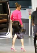 Jennifer Lopez looks striking in a pink top and leather skirt while heading for a business meeting in Beverly Hills, California