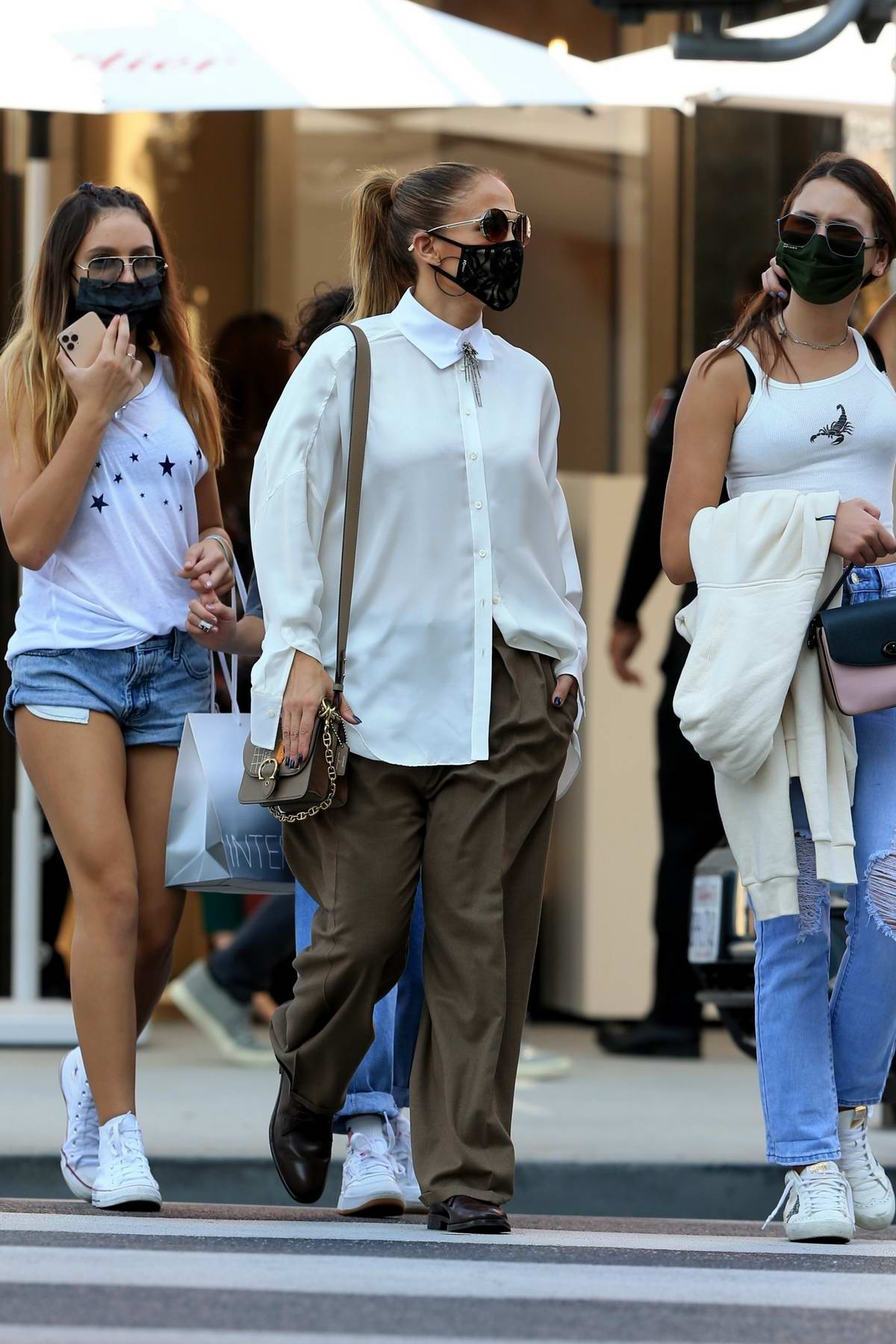 Jennifer Lopez stepped out for some shopping with her girls on Rodeo Drive in Beverly Hills, California