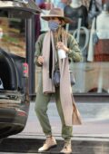 Jessica Alba dons army green ensemble during a shopping trip at Urban Outfitters in Los Angeles