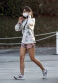 Jordana Brewster shows some legs in tie-dye shorts during a coffee run in Brentwood, California